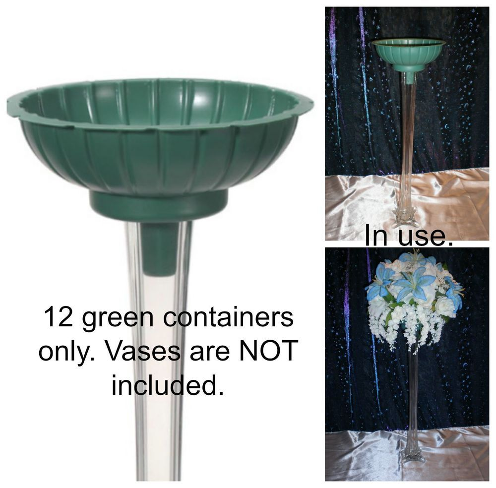 12 PACK Green Floral Design Containers For Eiffel Tower Vases-Vases ...