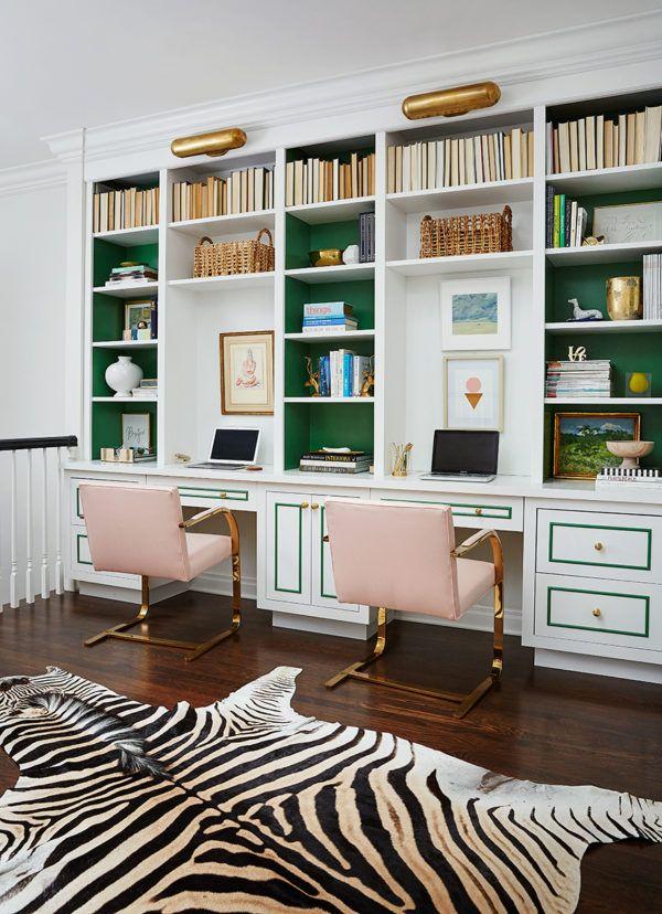 green home office moss green shelves bookshelves bookcase desk library shelves cool pops of color chairs pinterest home office decor