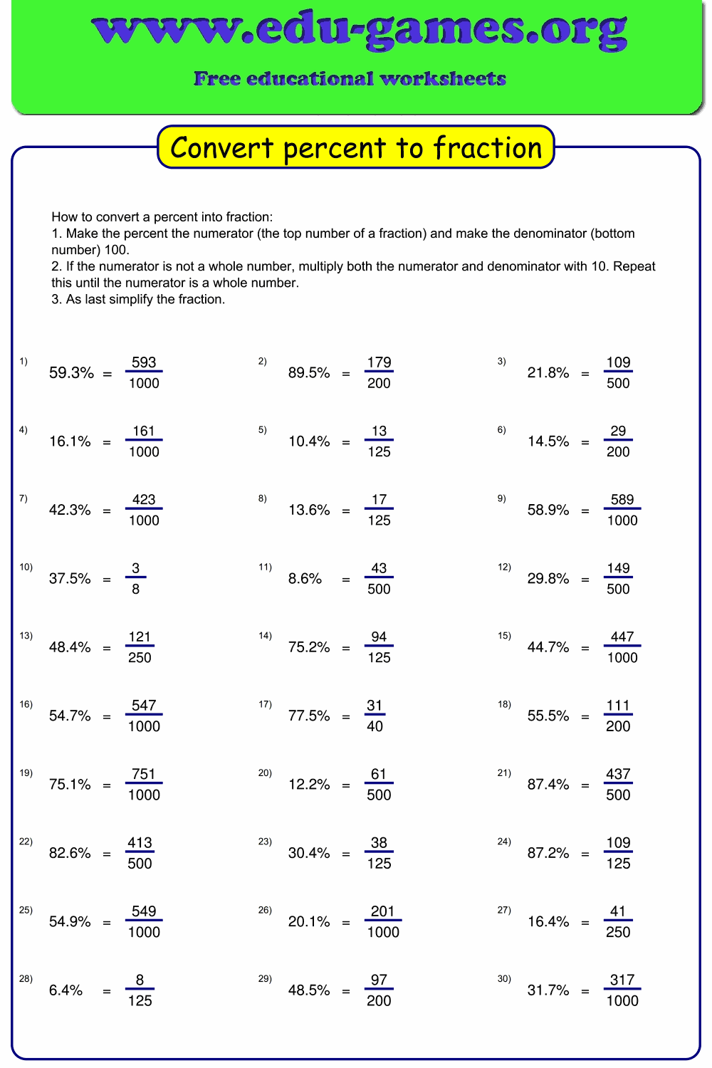 The Worksheet Maker Generates Worksheets For Converting Percentages Into Fractios Fractions Educational Worksheets Printable Math Worksheets