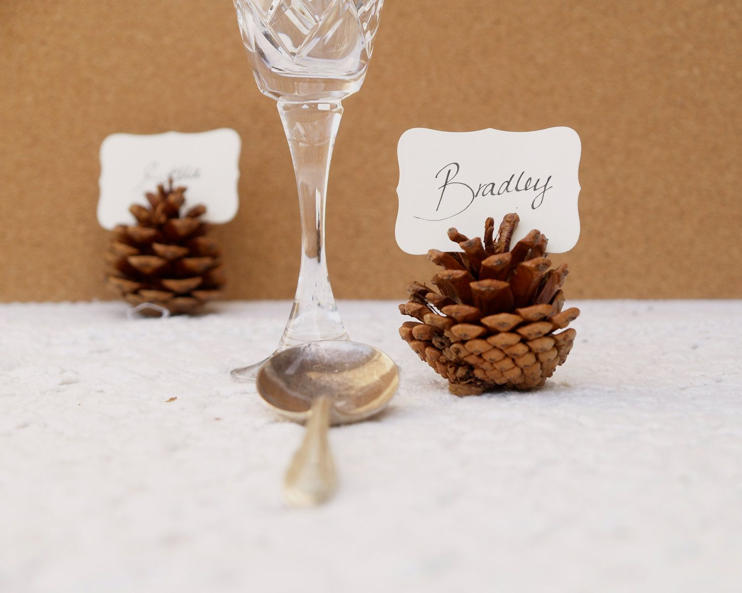 Woodland wedding place cards pine cone holder table setting