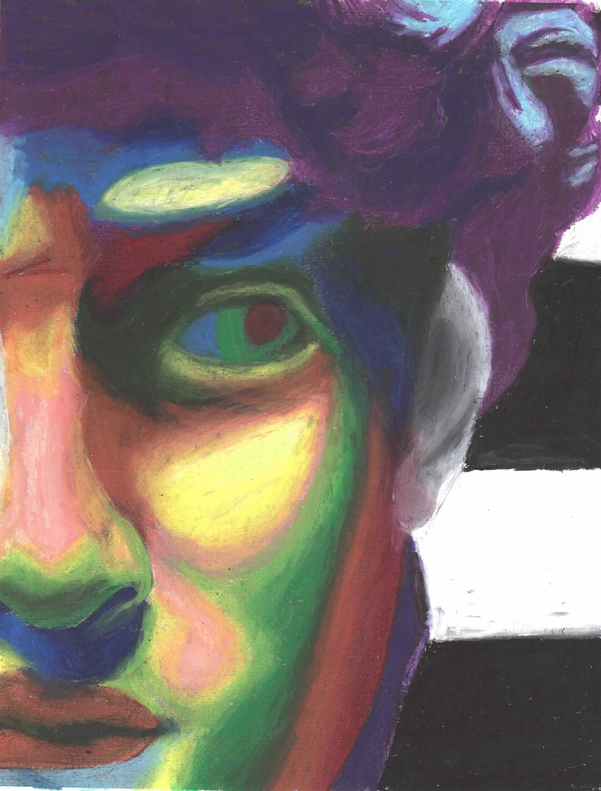 Rainbow landscape original oil pastel drawing - Expressive Color Oil Pastel Composition Conway High School Art Project