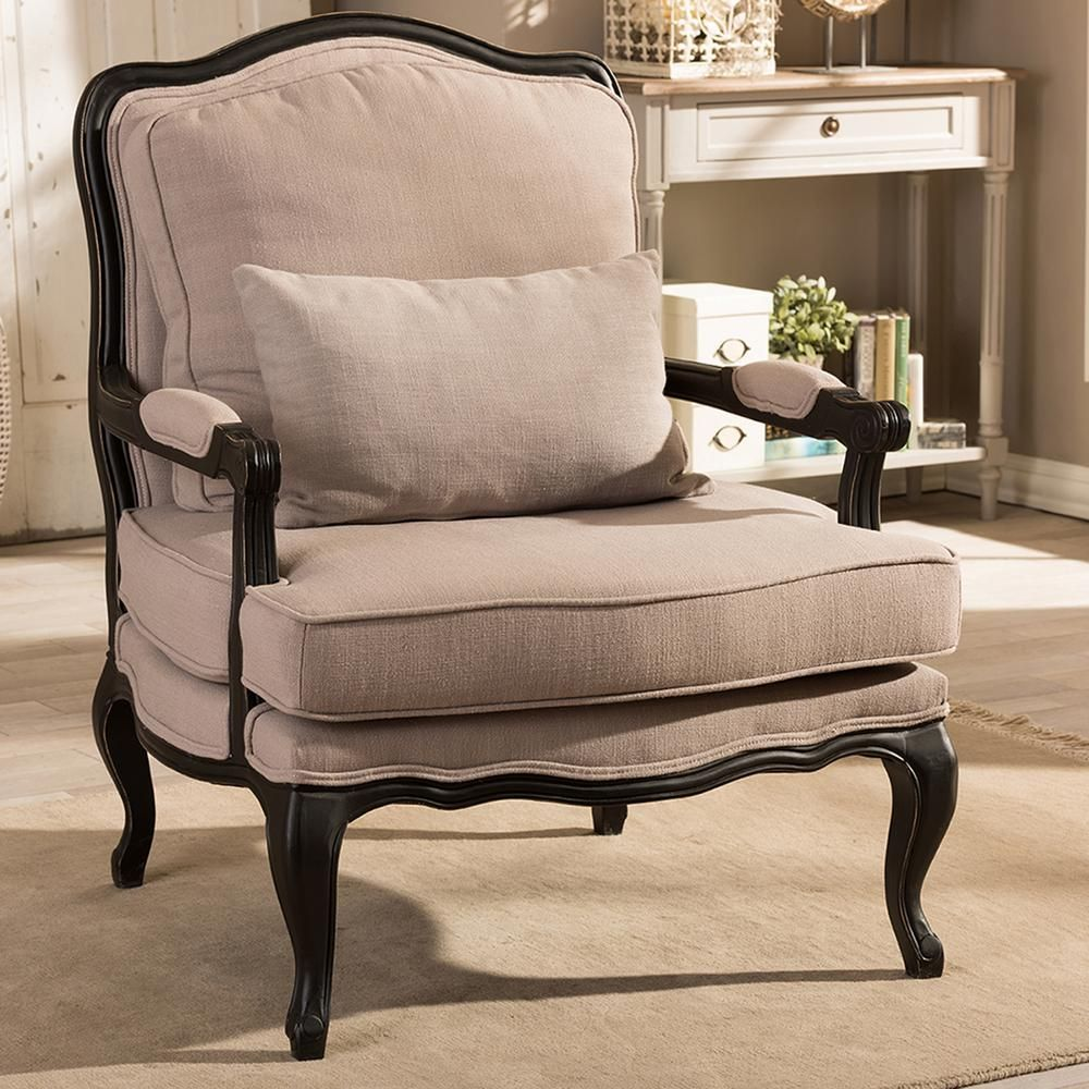 Baxton Studio Antoinette Beige Fabric Upholstered Accent Chair