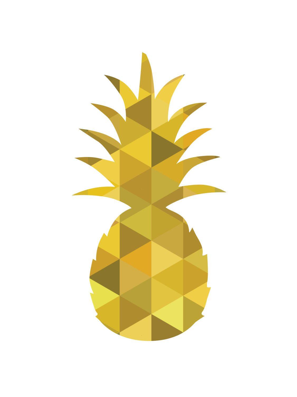 Yellow Pineapple Pineapple Wall Print от MelindaWoodDesigns | Food Ѽ ...