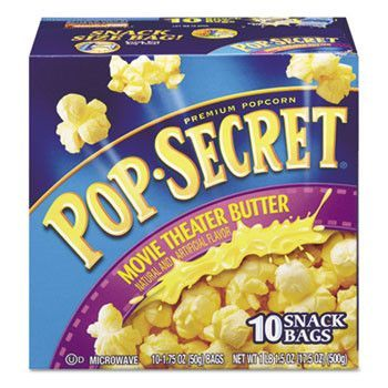 Microwave Popcorn, Movie Theatre Butter, 1.75 Oz Bags, 10/box