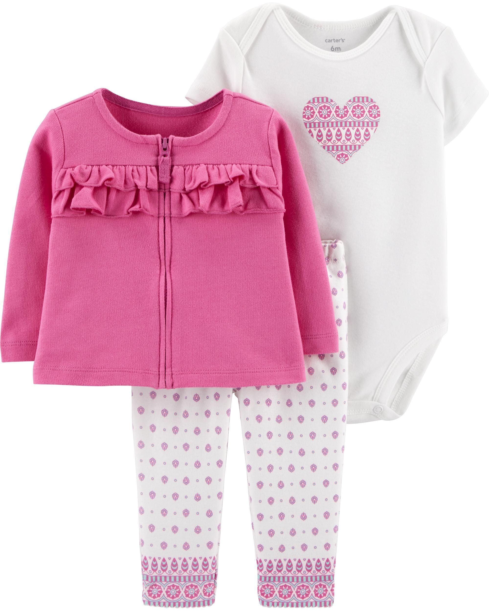 8e1699a0 3-Piece Heart Cardigan Set | baby ideas | Striped bodysuit, Floral ...