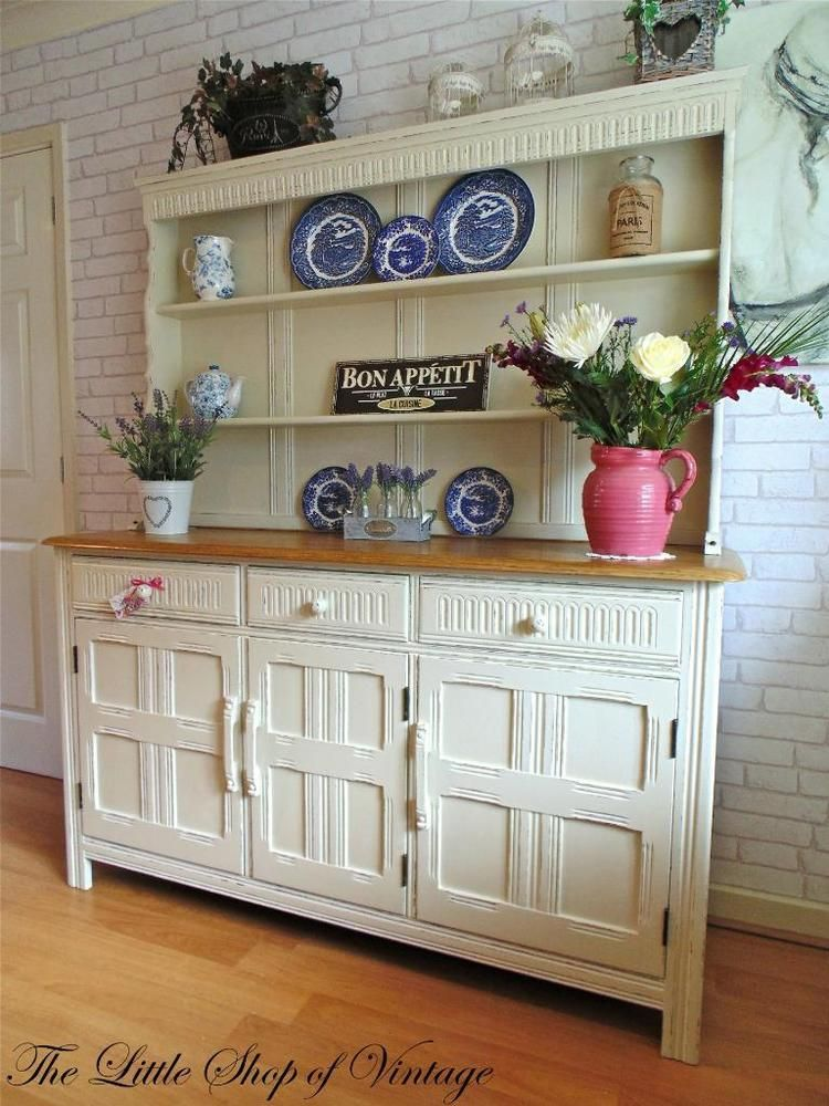 Gorgeous Ercol Oak Welsh Dresser Sideboard Cupboard Cabinet Shabby Chic F B