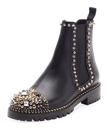 separation shoes eba89 77710 CHRISTIAN LOUBOUTIN Chasse A Clou Flat Chelsea Bootie, Black ...