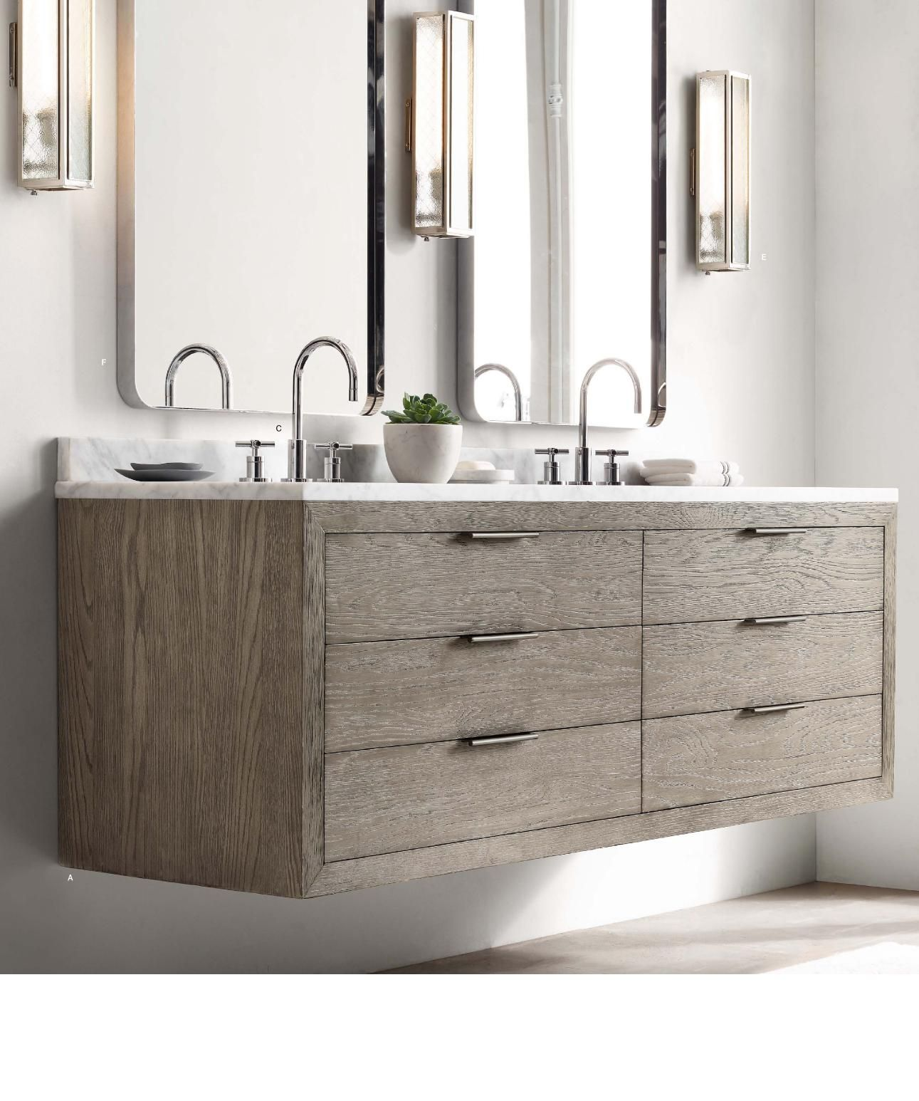 Rh Modern White Oak Floating Vanity New Home Remodel