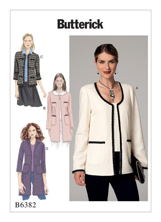 Butterick sewing pattern B6382: Misses\' Open-Front Jackets with ...