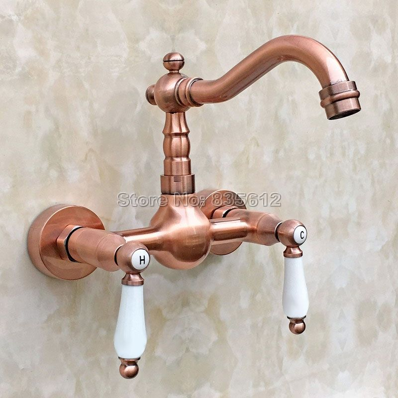 Antique Red Copper Kitchen Sink Swivel Spout Faucet Ceramic Handles Basin Mixer Taps 2 Hole Wall Mounted Wr Wall Faucet Bathroom Wall Faucets Sink Mixer Taps