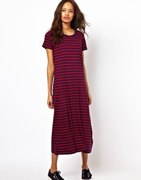 Enlarge White Chocoolate Stripe T-Shirt Dress
