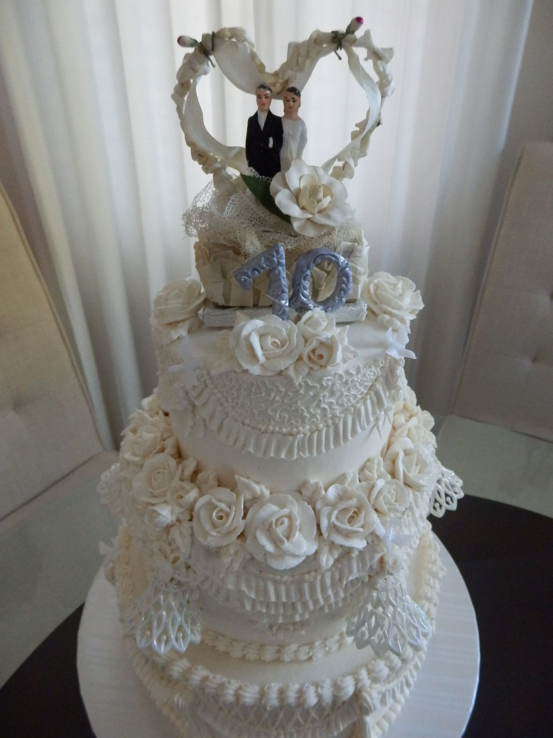 A real throwback way back th wedding anniversary cake with