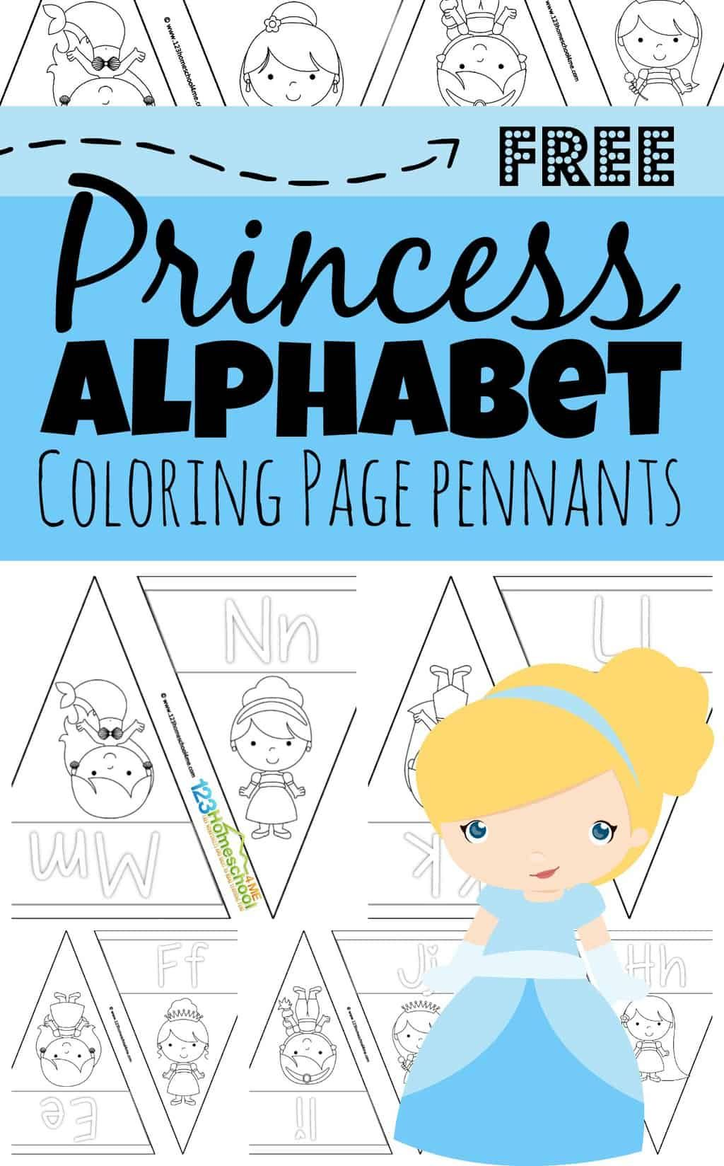 Disney Princess Alphabet Coloring Pages Pennants In