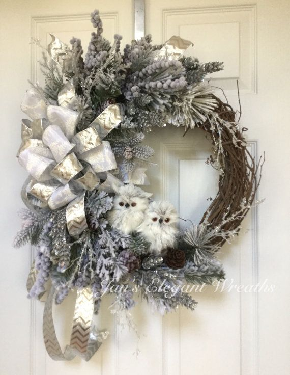 Photo of Christmas Owl Wreath.  Winter Wreath. Christmas Wreath with Owls. Luxury Holiday Wreath. Christmas Wreath. Elegant Winter door decor.