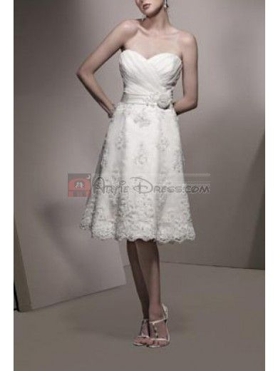 Elegant A-line Sweetheart neckline Lace and Satin Short Wedding Dress - Artie Dress