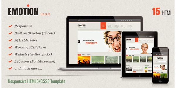 Free Download Emotion Responsive HTML5/CSS3 Template | Free Mockup ...