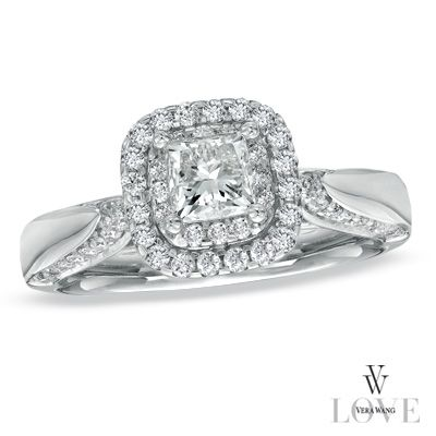 Vera Wang LOVE Collection 7/8 CT. T.W. Princess-Cut Diamond Double ...