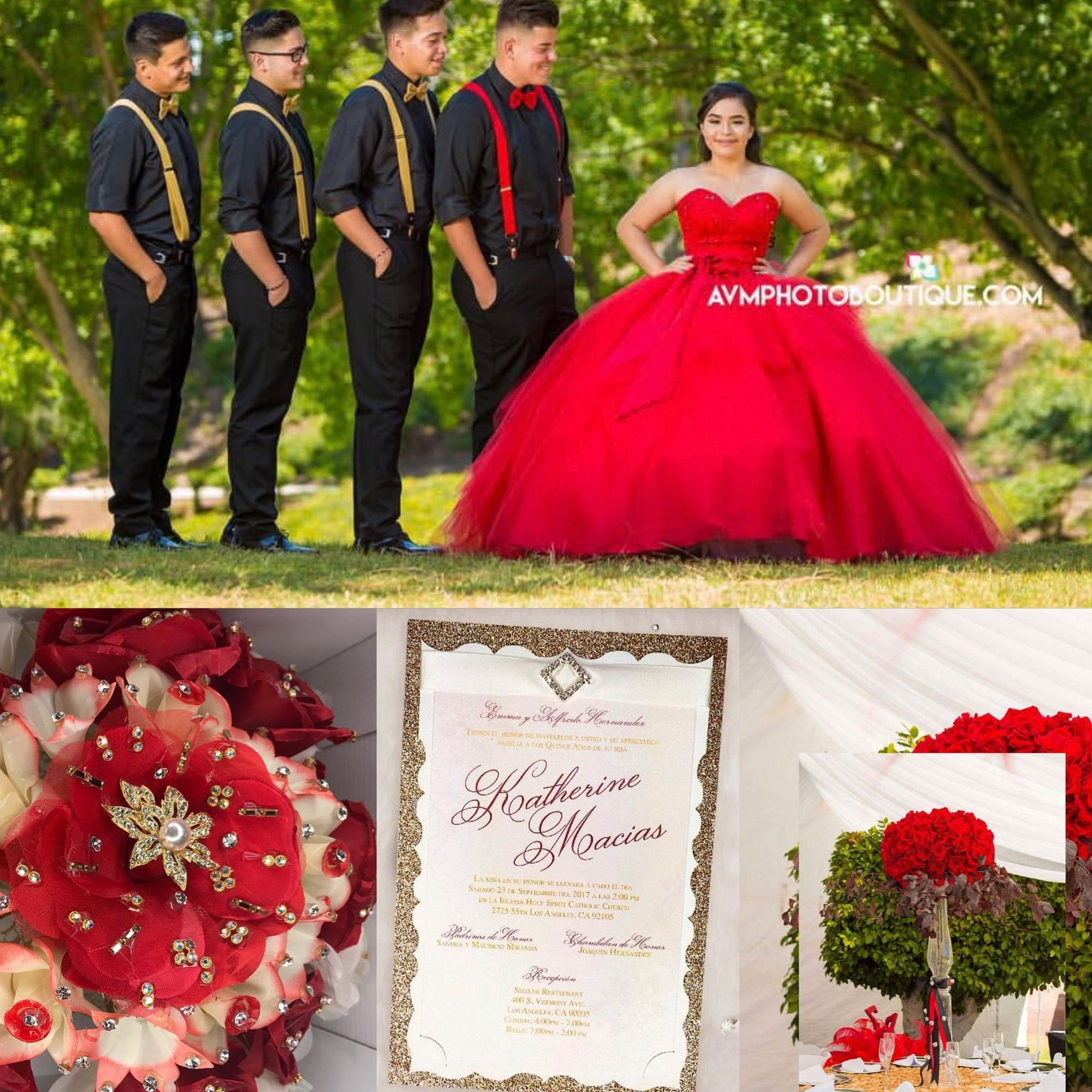 Red quinceaera ideas Quince dress chambelanes tuxedos