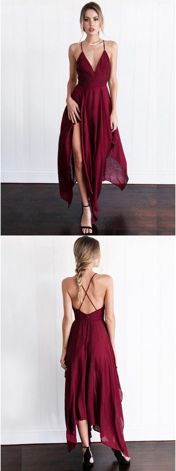 A-Line Deep V-Neck Criss-Cross Straps Asymmetrical Burgundy Prom ...