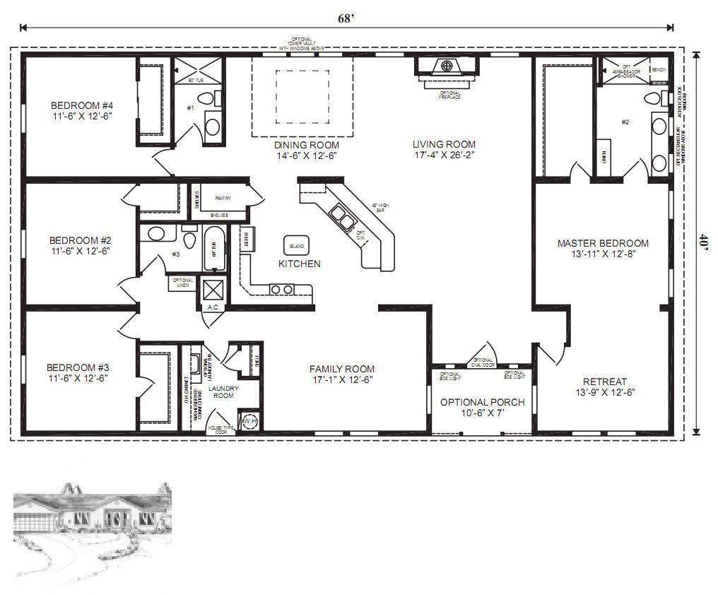 The Oak Hill Modular Home Floor Plan Jacobsen Homes Modular Home Floor Plans Ranch House Floor Plans Basement House Plans