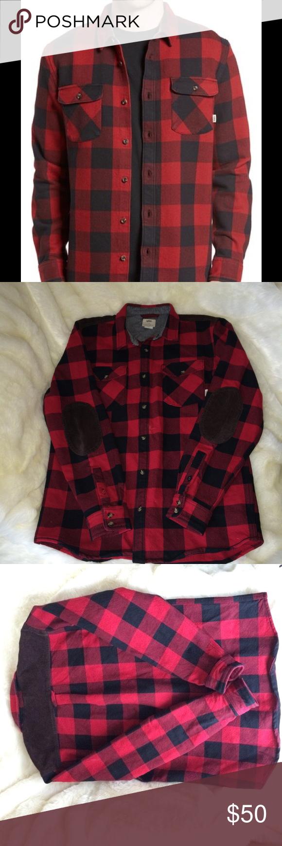 Flannel jacket with elbow patches  Vans Hixon Flannel Shirt Jacket lumberjack L  Shirt jacket Flannel