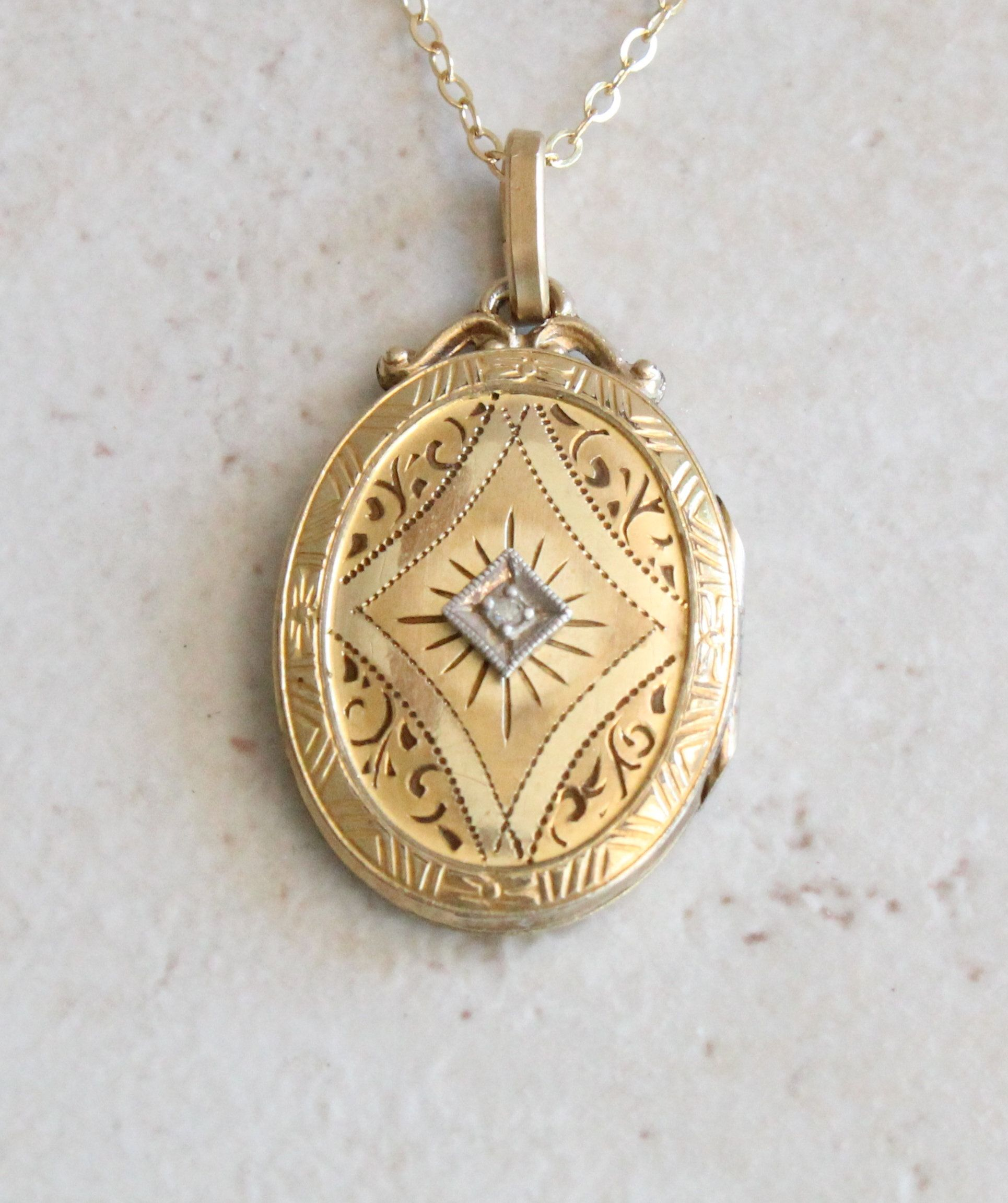 10k Gold Filled Locket With Diamond Psco Plainville Stock Co Vintage Locket 10k Gold Gold Filled