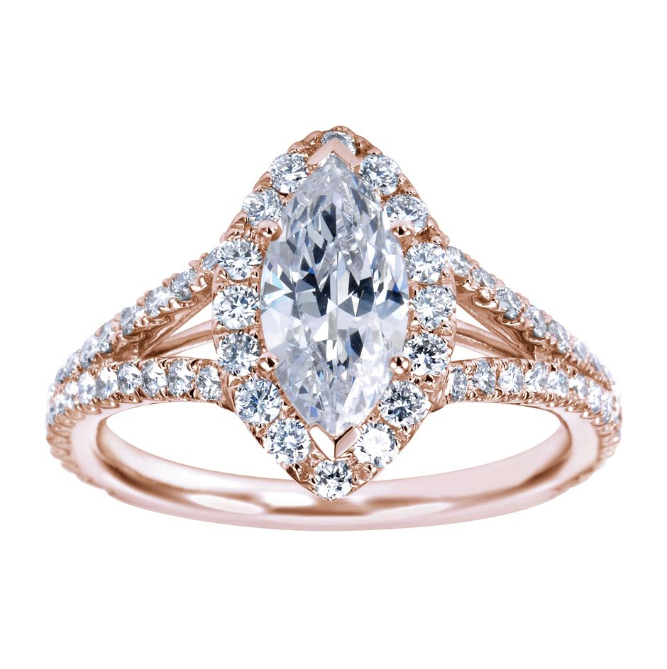 Marquise cut halo engagement ring setting with a split shank 100% rose gold