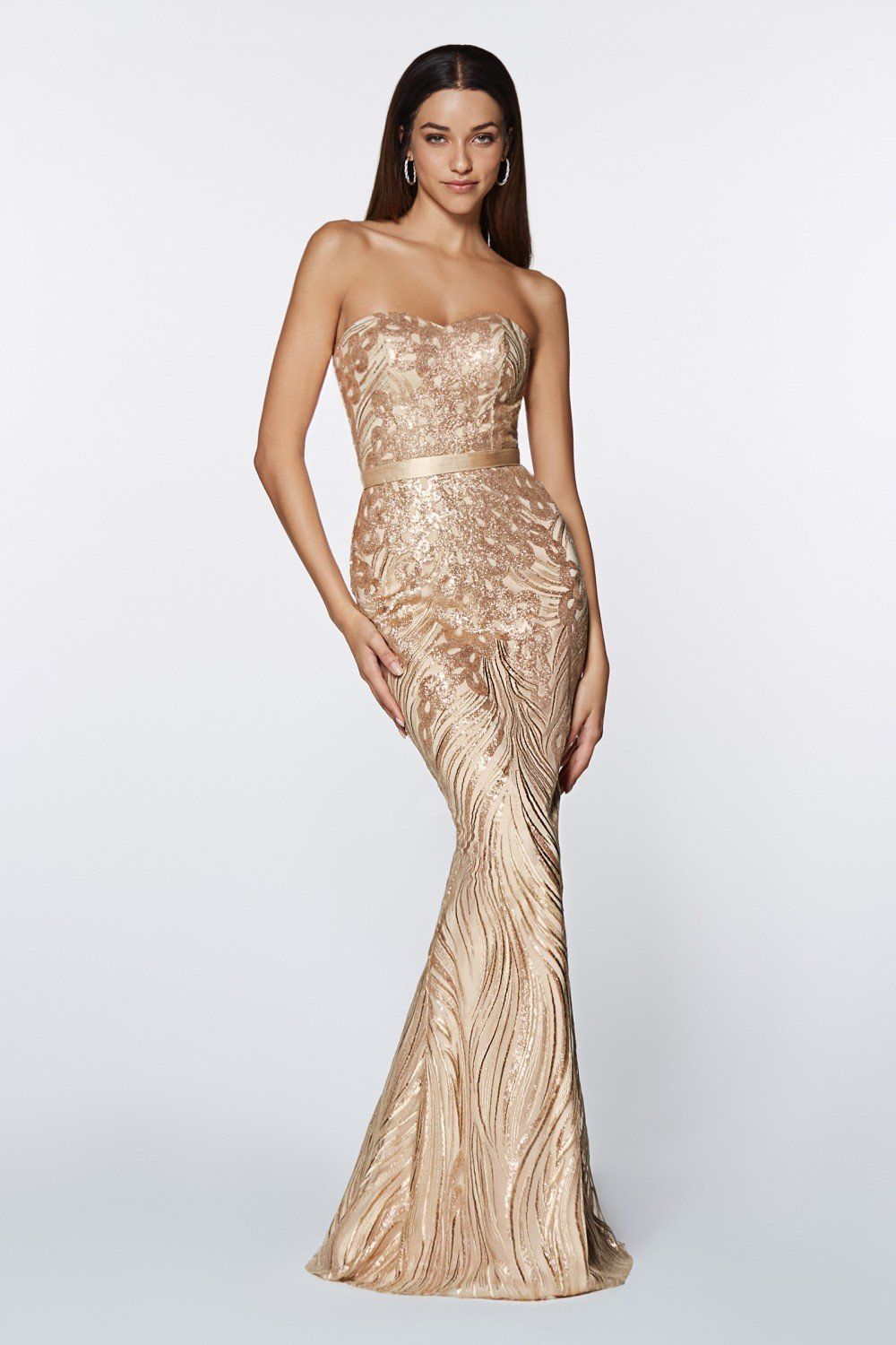 Cinderella Divine Cd0112 Strapless Sequined Sweetheart Sheath Prom Dress In 2021 Strapless Dress Formal Dresses Gold Evening Gown [ 1500 x 1000 Pixel ]