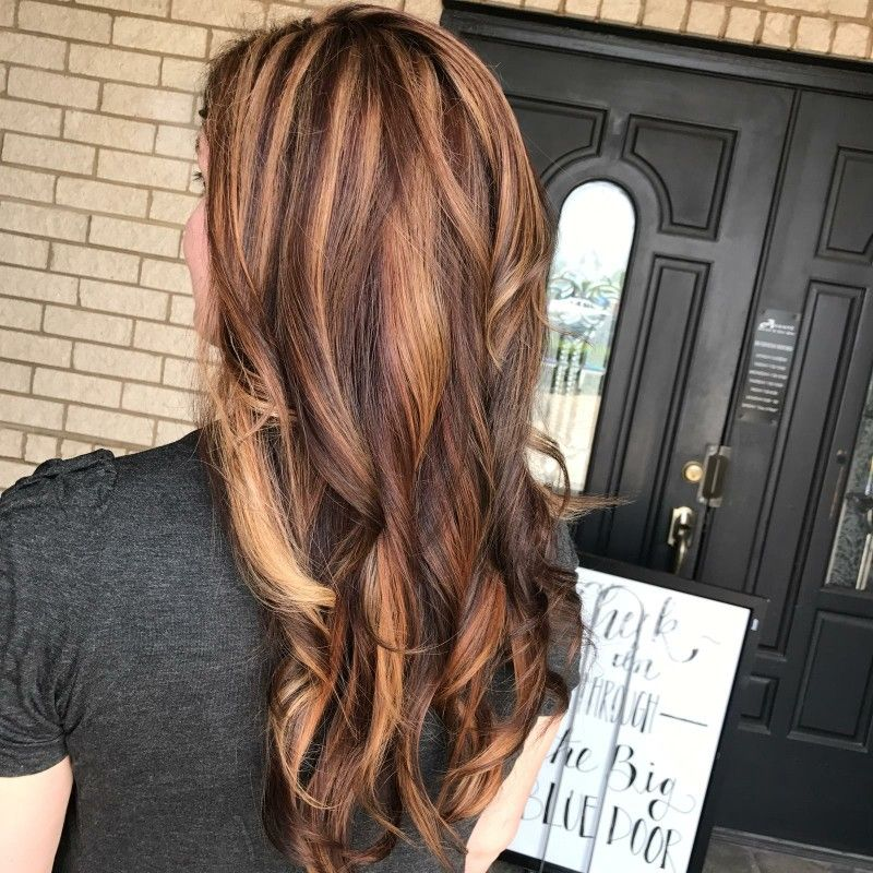My Hair So Cool Brown Hair With Copper And Honey Highlights Yay Hair Honey Hair Copper Highlights On Brown Hair