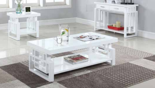 3 Pc Glossy White Windowpane Coffee Table End Table Sofa Table Set 707508 Coffee Table Sofa Table Table
