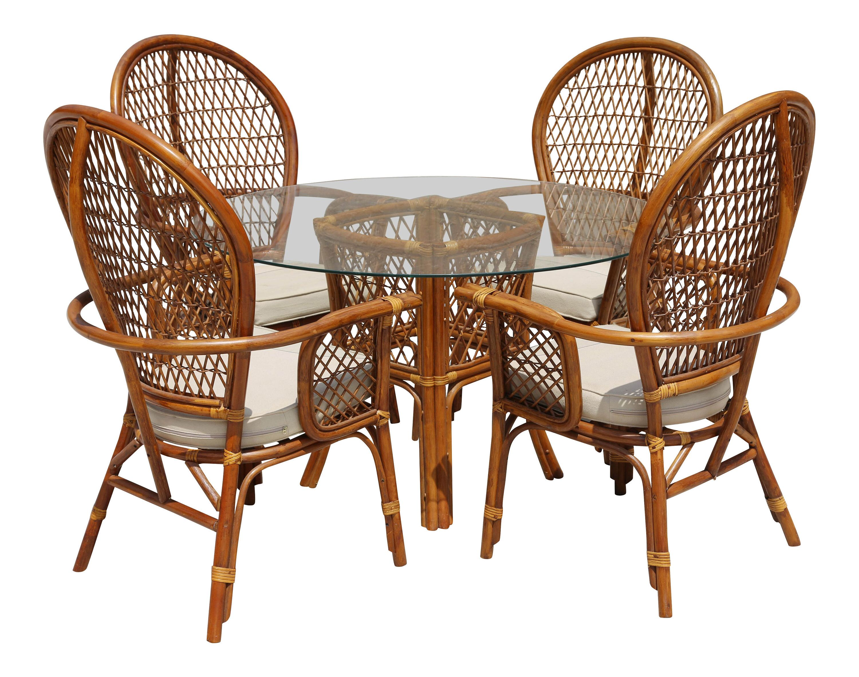 Rattan Dining Table With Glass Top And 4 Chairs Set Of 5 Florida Home Dining Table Chairs Table Dining