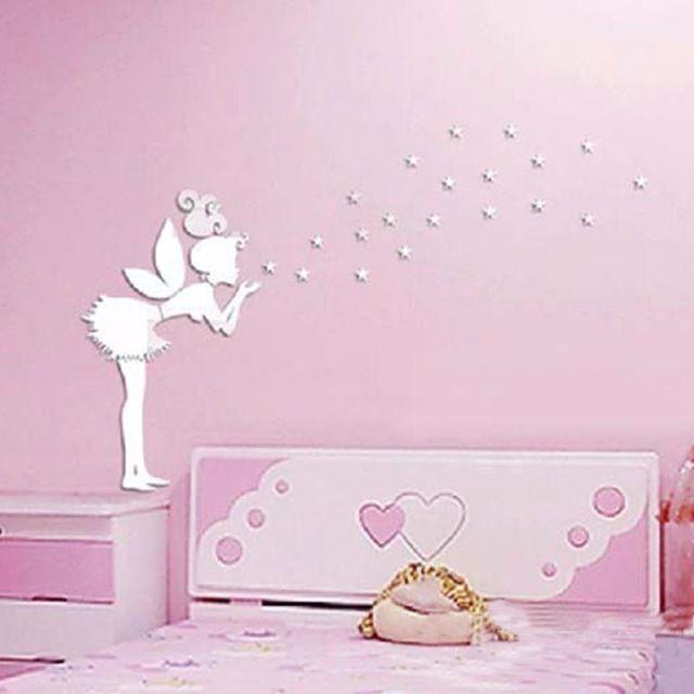 Best Angel Magic Fairy Stars 3D Mirror Wall Sticker Kids 400 x 300