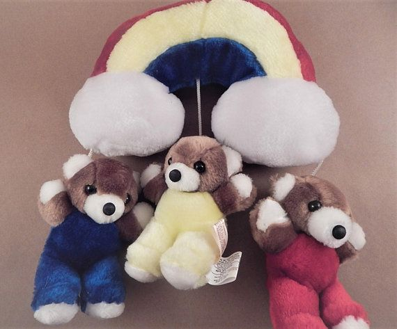 7c399511a Rainbow Teddy Bear Mobile Vintage 1984 Jolly Jumper Wall Hanging ...