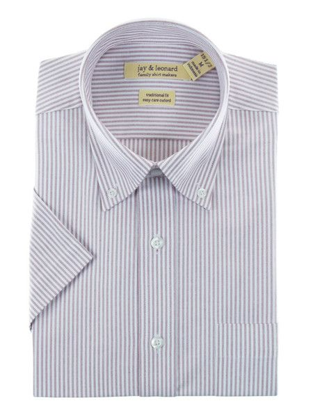 This button-down collar, striped short sleeve shirt by Jay & Leonard is a must-have staple for your work wardrobe.