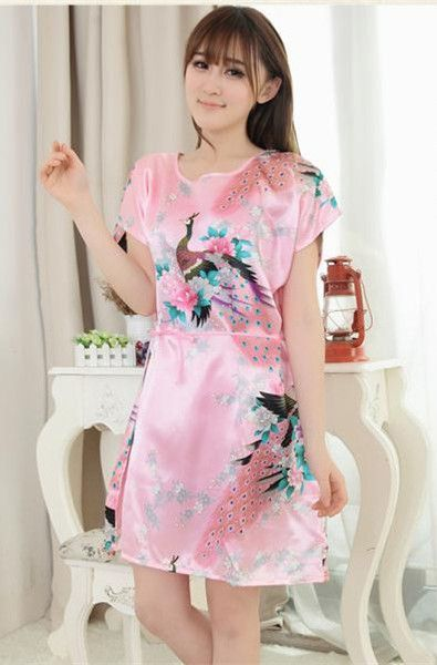 Plus Size Lady Summer Printed Floral Robe Dress Chinese Women Silk Rayon  Nightgown Sleepwear Kimono Bath Gown 20 colors A146 17ea72fa9