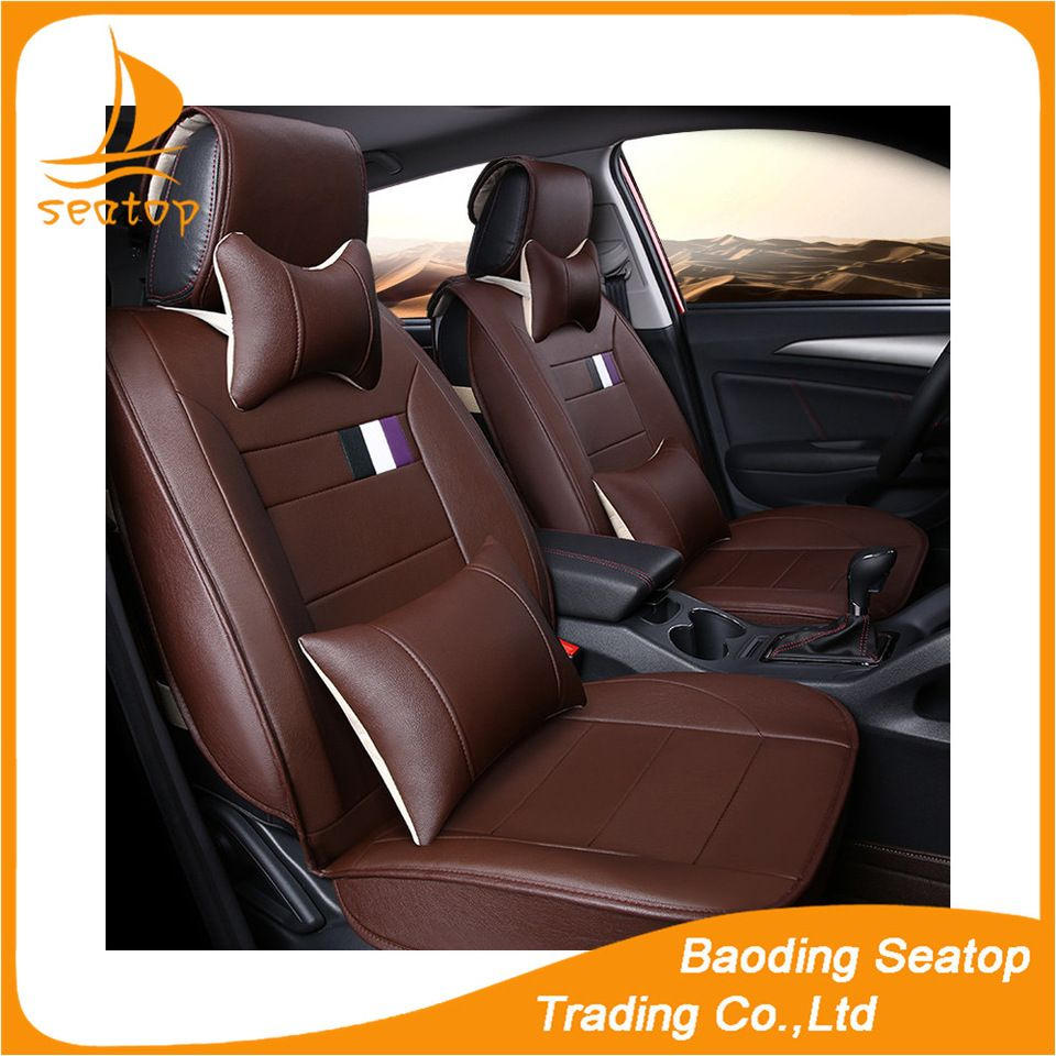 Brown Leather Designer Car Seat Cover Car For All Most Cars Striped Car Seat Cover Car Seats Leather Cushion