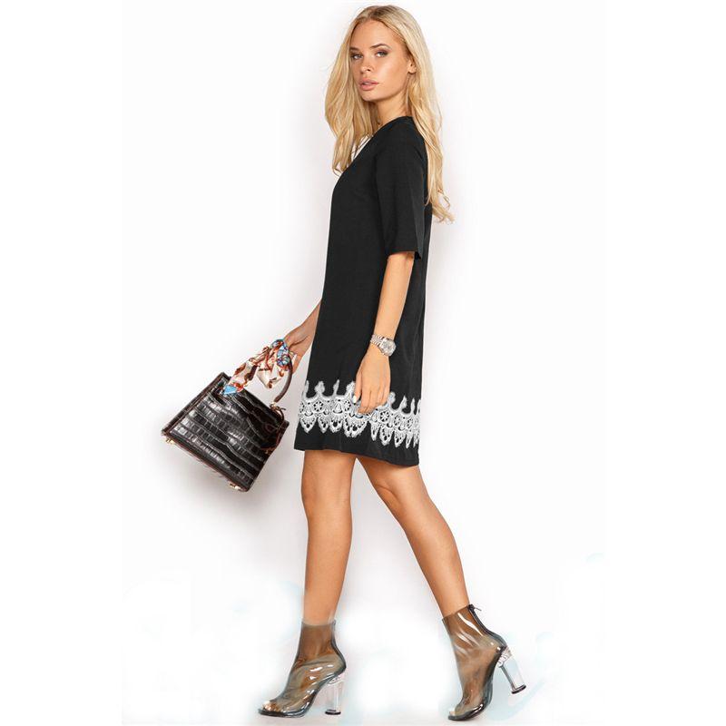 ab758841e86 Summer Dress 2018 Women Fashion Casual Mini Lace Dress Black White Short  Sleeve O-Neck Beach T Shirt Dresses Plus Size