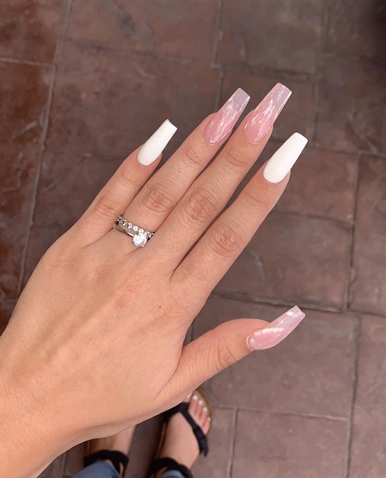 Medium Square Nails Marble Rose Quartz Nails White Acrylic Nails Square Acrylic Nails