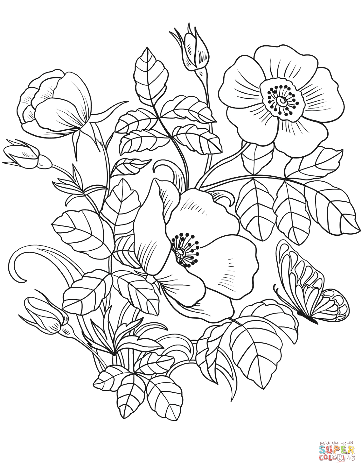 Spring Flowers Super Coloring Printable flower