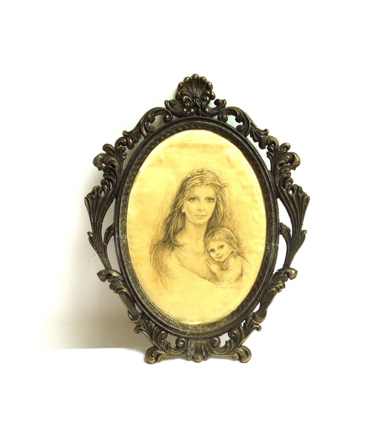 Vintage Ornate Picture Photo Frame Metal Art Nouveau Brass Plated ...