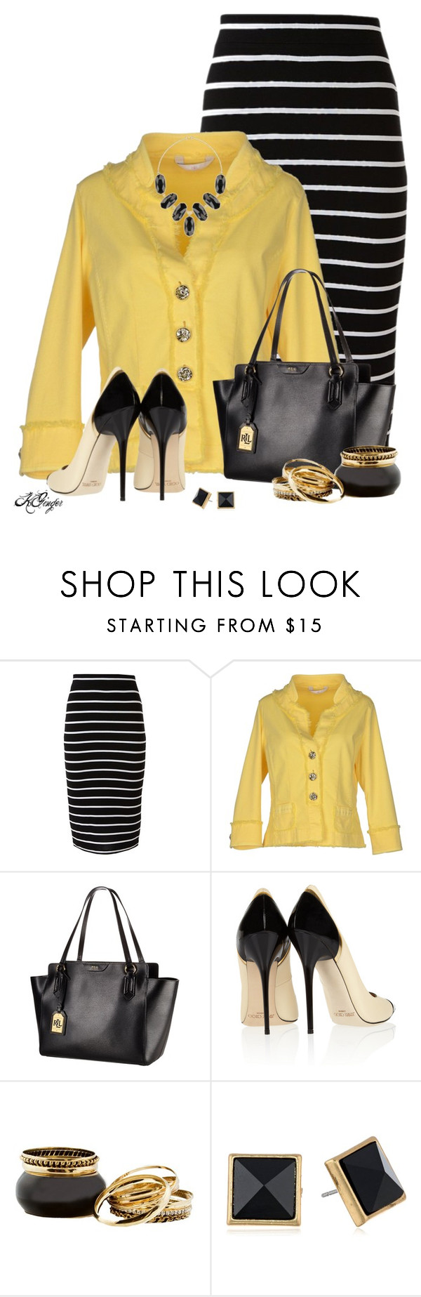 """""""Buzz buzz buzz like a bumble bee"""" by kginger ❤ liked on Polyvore featuring Dismero, Lauren Ralph Lauren, Jimmy Choo, Lucky Brand and Kendra Scott"""