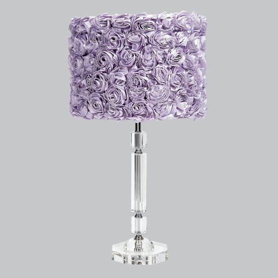 Crystal Slender Lamp With Lavender Rose Garden Drum Shade With Images Purple Lamp Lamp Drum Shade