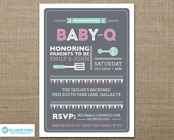 Baby Shower Invitation   Baby Bbq Shower Invitation   Baby Q Shower   BBQ    Couples