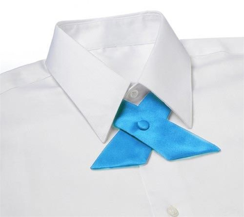 Bright Turquoise Satin Crossover Tie