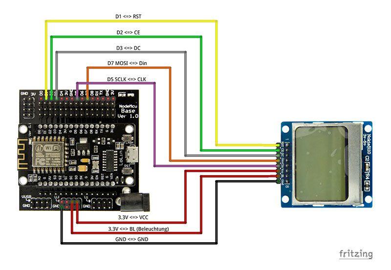 nokia 5110 display mit esp8266 display f r arduino. Black Bedroom Furniture Sets. Home Design Ideas
