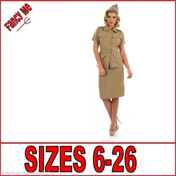 Ladies American Gi Army Military Uniform Fancy Dress Costume Outfit