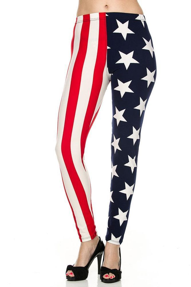 Sexy High Waisted Patriotic USA AMERICAN FLAG Stars rave Pants Leggings New o/s #OTHER