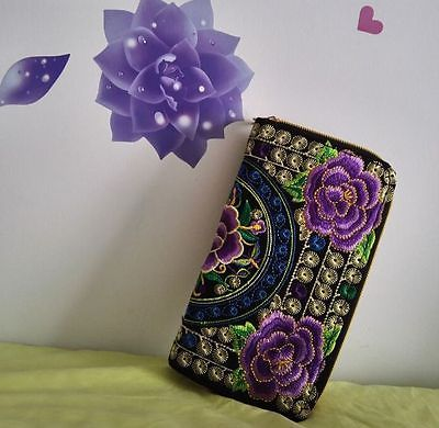 embroidered double layer handmade purse