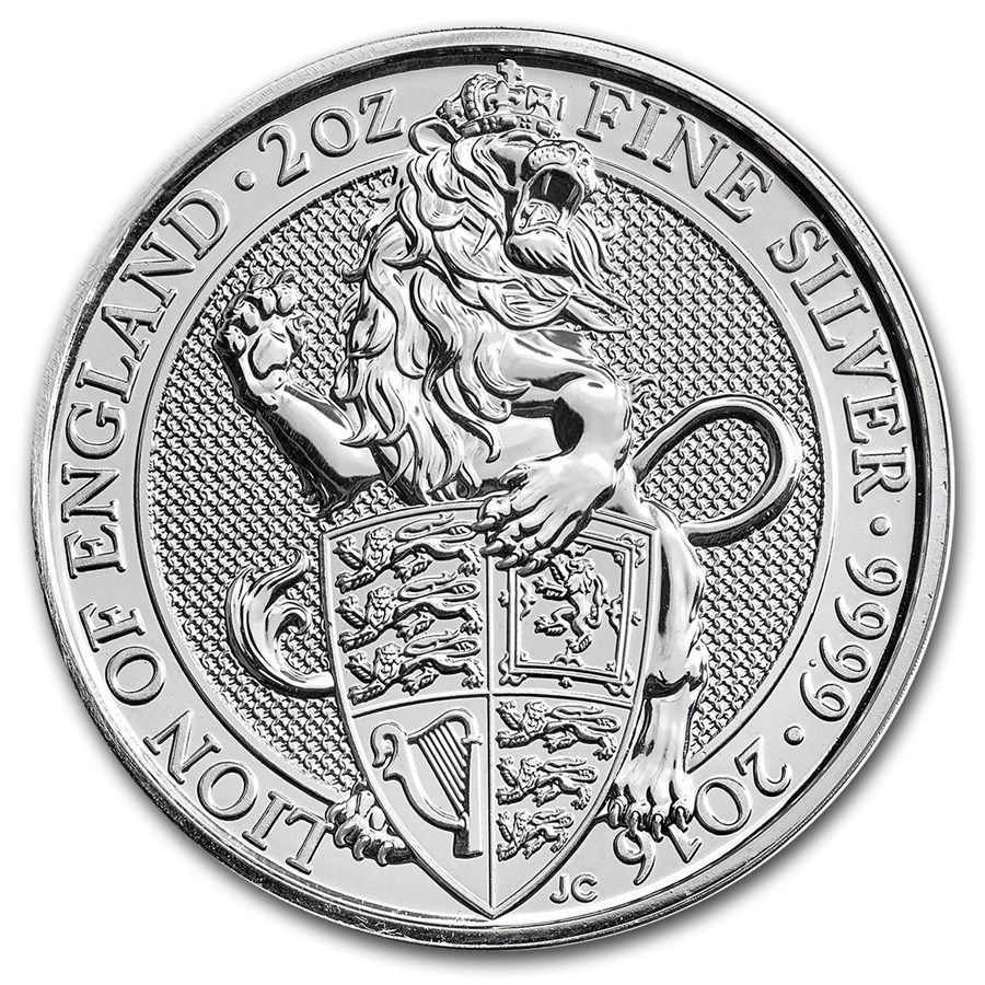 2016 Queen/'s Beast Lion of England 2 oz .9999 Silver UK Coin with Capsule