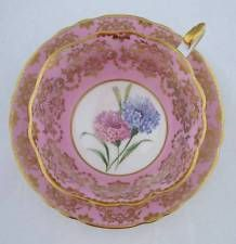 PARAGON FOOTED CUP & SAUCER - PINK - GOLD FILIGREE - FLORAL CENTER